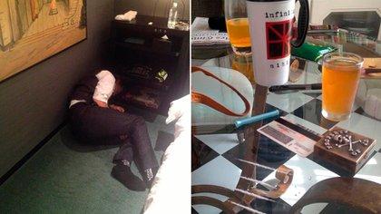 Depp drogado en un rincón de su habitación. En la otra imagen, lineas de cocaína que supuestamente consumió el actor.