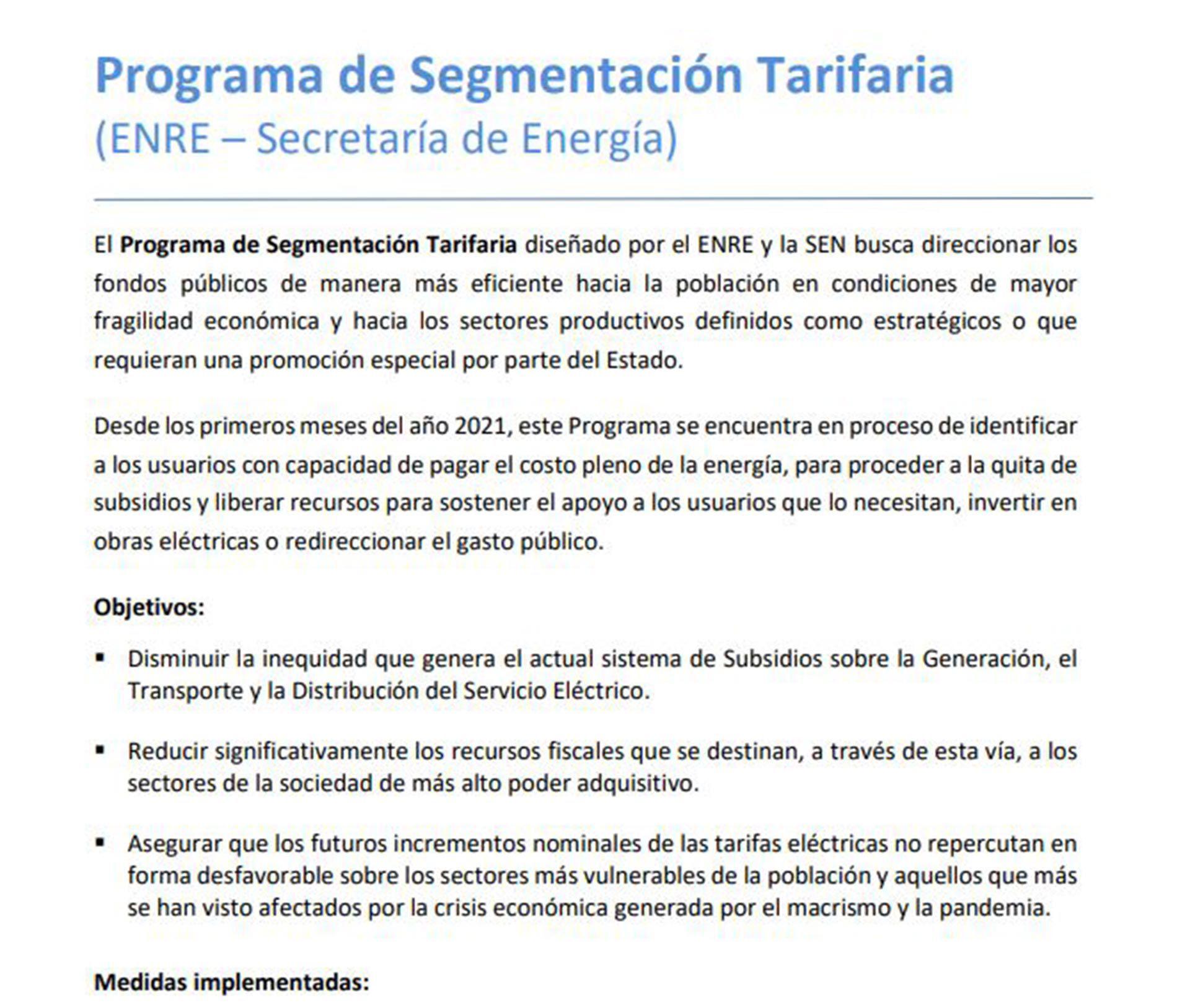 Programa de segmentación tarifaria SF