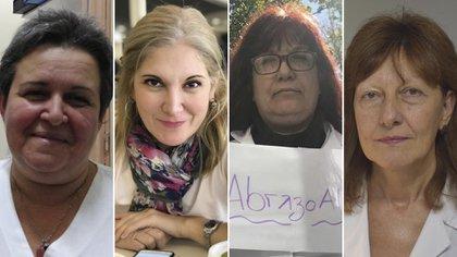 Ana Campos, Laura Lescano, Gabriela Piovano y Rosana Toro, todas profesionales de la salud en la primera línea de fuego contra el Covid-19.
