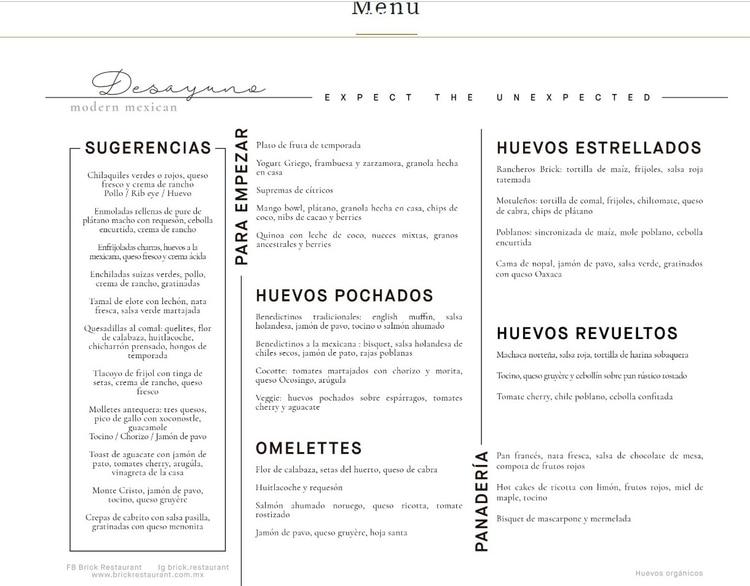 Restaurante Brick Menú (Foto: Facebook BRICK Restaurant)