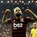 Flamengo's Gabriel Barbosa (R) celebrates with teammates after scoring against Gremio during their Copa Libertadores second leg semi-final football match, at Maracana stadium in Rio de Janeiro, Brazil, on October 23, 2019. (Photo by MAURO PIMENTEL / AFP)