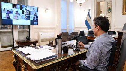 Sergio Massa durante una teleconferencia