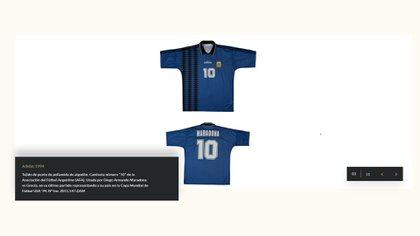 Camiseta con la que convirtió su última obra en la Selección, en el partido contra Grecia en USA 94
