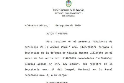 Notificación e introducción al tema del juez que entiende en la causa por evasión contra Claudia Villafañe