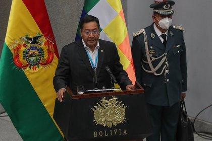 El presidente de Bolivia, Luis Arce, al momento de la jura de su Gabinete