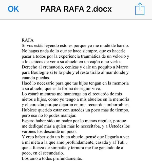 El párrafo que Antonio le dedicó especialmente a su hijo Rafael