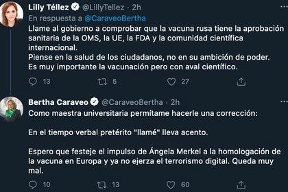 Lilly Téllez y Bertha Caraveo (Foto: Twitter@LillyTellez/@CaraveoBertha)