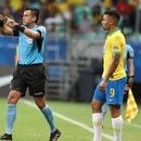 Referee Julio Bascunan disallows a goal scored by Brazil's Gabriel Jesus, right, after consulting the VAR during a Copa America Group A soccer match at the Arena Fonte Nova in Salvador, Brazil, Tuesday, June 18, 2019. (AP Photo/Ricardo Mazalan)