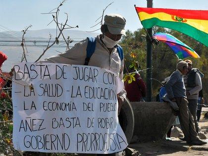 Una de las protestas contra Áñez (EFE)