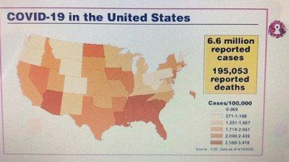El impacto del COVID-19 en EEUU con las zonas rojas o amarillas que muestran la evolución del virus