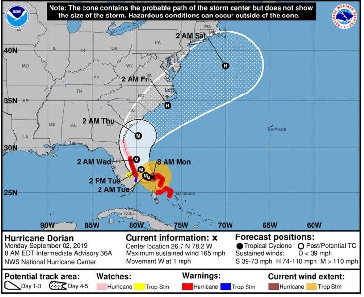 El Centro Nacional de Huracanes espera que Dorian llegue a Florida en la madrugada del martes, y se dirija hacia el norte de EEUU (Foto: Centro Nacional de Huracanes)