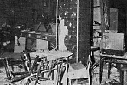 El comedor de la Superintendencia de Seguridad Federal luego del atentado de Montoneros