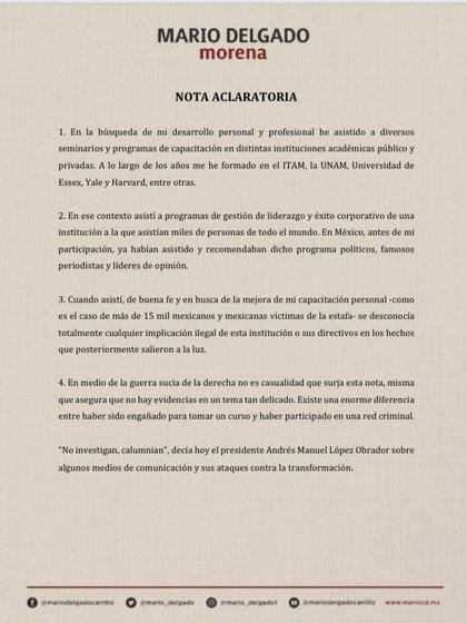 Nota aclaratoria de Mario Delgado sobre su participación en cursos impartidos por una organización ligada a la secta sexual NXIVM (Foto: Twitter@mario_delgado)