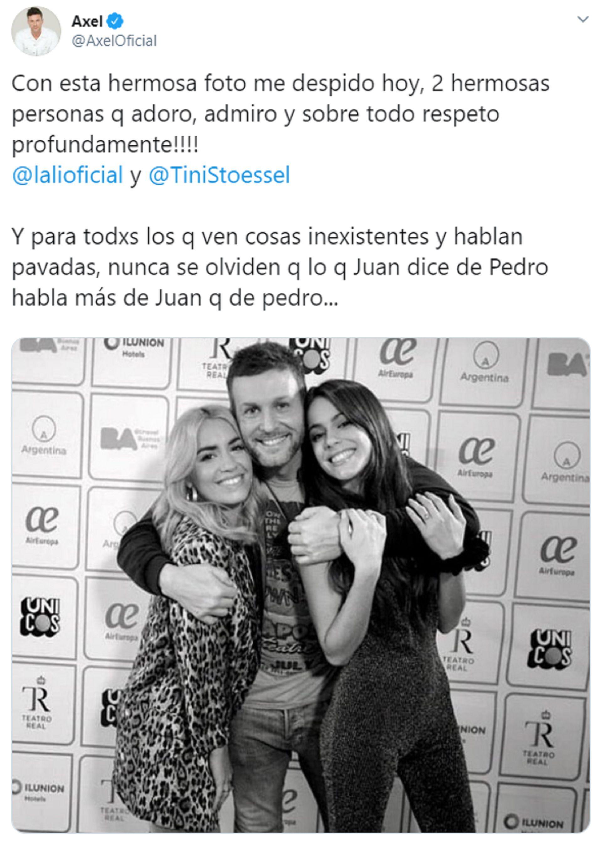 La publicación de Axel, tras las repercusiones en las redes de su abrazo con Tini