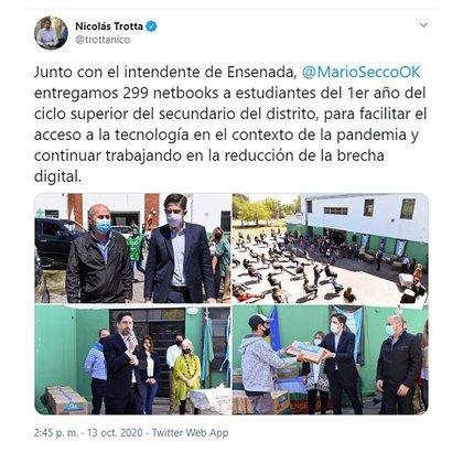 Secco était hier avec le ministre de l'Éducation, Nicolás Trotta
