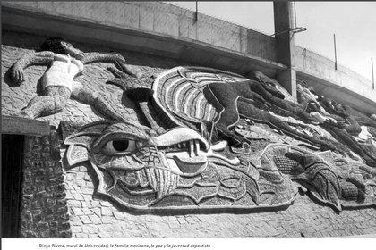 """Diego Rivera, mural """"La Universidad, la familia mexicana, la paz y la juventud deportista""""."""