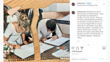 El posteo en Instagram de Valeria Larrarte sobre su divorcio con Coti Sorokin