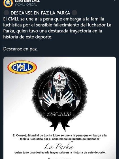 El Consejo Mundial de Lucha Libre se despidió del emblemático luchador (Foto: Captura de Pantalla de Twitter)
