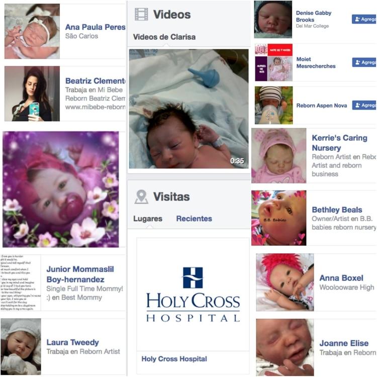 """Clarisa estaba obsesionada con los bebés, tenía agregados como a """"amigos"""" en su Facebook a diversas páginas de muñecos de bebés recién nacidos, un video de su nieto recién nacido y registró su estancia en el hospital donde ingresó al bebé que robó de Marlen Foto: Facebook"""