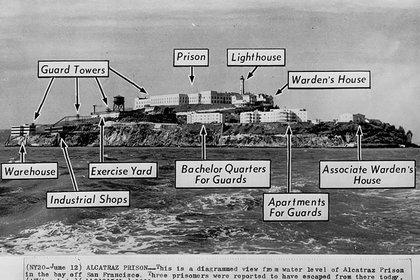 Diagrama de Alcatraz tal como era en 1962