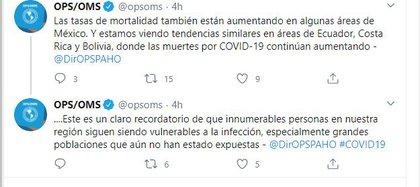 El especialista de la OPS destacó que esta información refleja el hecho de que el virus SARS-CoV-2, causante de la enfermedad por coronavirus, sigue siendo fuerte en la región (Foto: Twitter / @ opsoms)