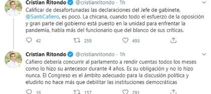 La respuesta del diputado Cristian Ritondo a través de las redes sociales