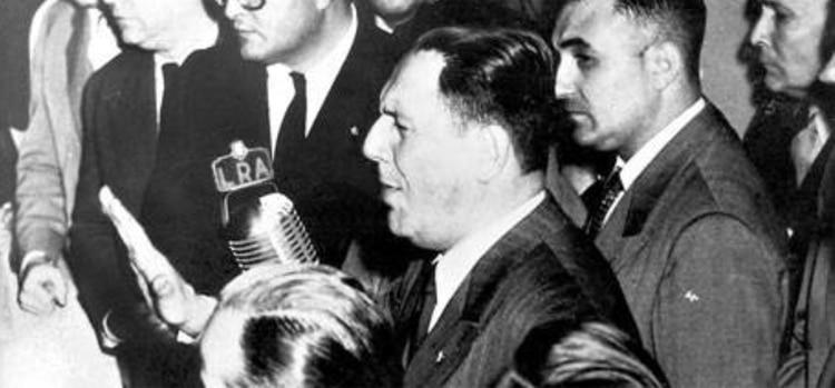 Perón el día de su discurso del 31 de agosto de 1955