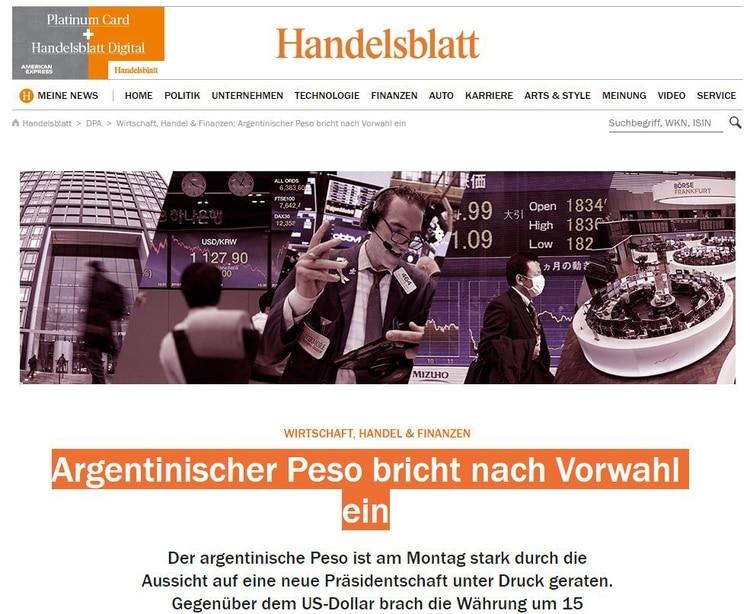 El Handelsblatt también destaca la caída del peso tras la votación