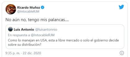 Una de las respuestas que Muñoz dio respecto a su acceso a la vacuna (Captura de pantalla)
