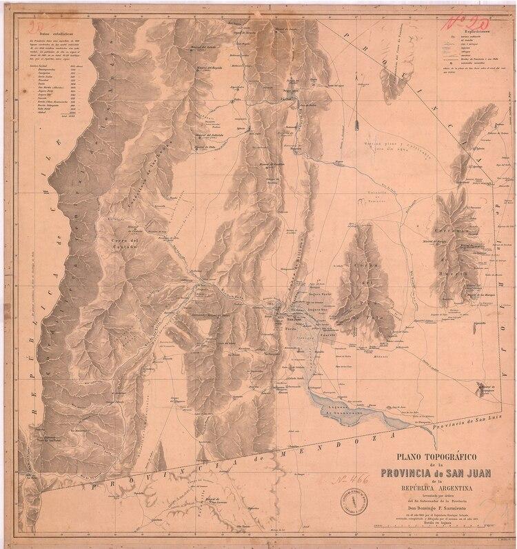 Un antigo mapa de la provincia de San Juan que se puede encontrar en el registro RODNA
