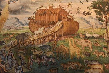 """Los animales entrando al Arca de Noe. Fresco de Aurelio Luini en el Monasterio de San Mauricio, en Milán. En la Biblia, Dios le dice a Noé: """"Todo lo que se mueve y vive debe servirte de alimento"""" (Shutterstock)"""
