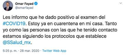 El gobernador de Hidalgo informó a través de Twitter que dio positivo a COVID-19 y señaló que va a seguir trabajando para que el estado supere la crisis sanitaria (Foto: Twitter)