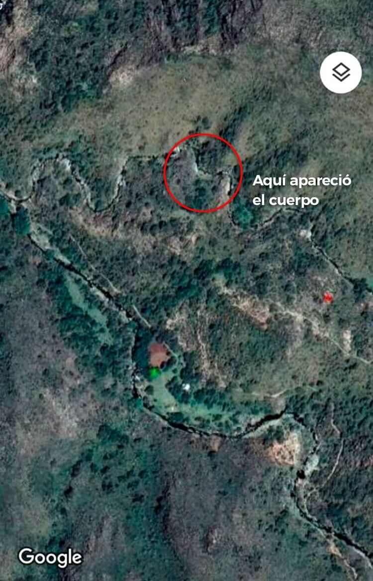Este es el lugar donde apareció el cadáver, en el río Negro Quemado.