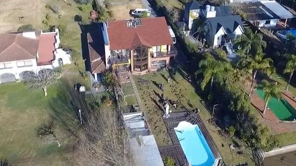 Vista aérea de la casa donde vivía López en Tigre