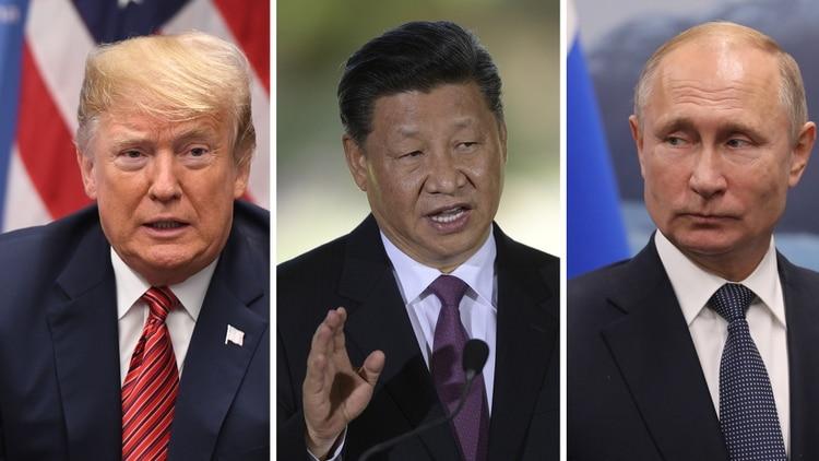 Donald Trump, Xi Jinping y Vladimir Putin.