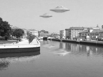 Composición de cómo se imaginaban la visita de extraterretres en EEUU en los años 60. (NASA)