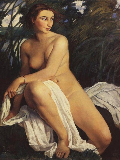 """Bañista"" (1911) de Zinaida_Serebriakova (Museo Estatal Ruso, San Petersburgo)"
