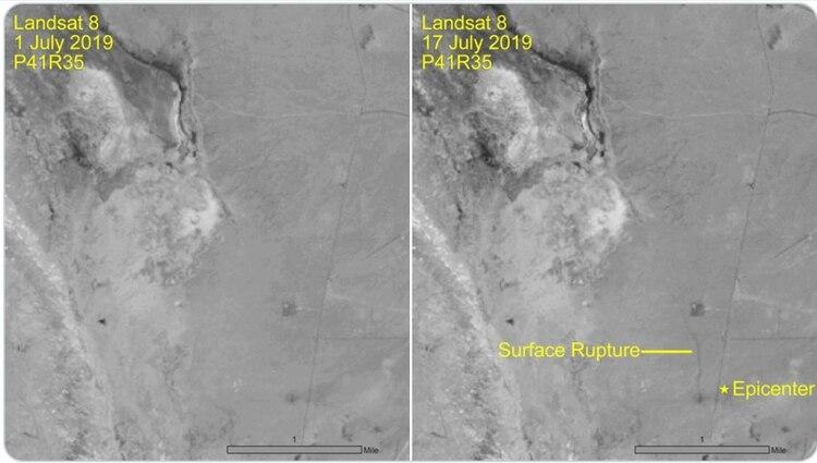 Mapas satelitales identificaron la grieta posterior a los potentes sismosFoto: USCG