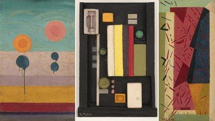 """""""Abstracción"""" 1971 (óleo sobre tela, 97 x 70 cm); """"Sín título"""" 1975 (relieve trabajado en ambas caras en madera con plástico y metal, 101 x 70 x 15 cm), y """"Composición abstracta"""" 1978 (óleo sobre arpillera, 130 x 61 cm)"""