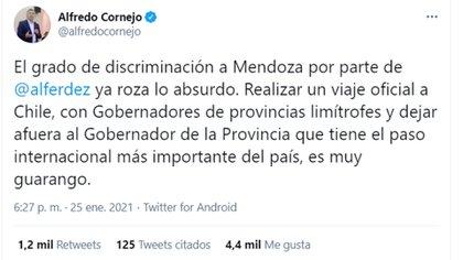 El mensaje que Alfredo Cornejo subió a sus redes sociales para criticar al gobierno nacional