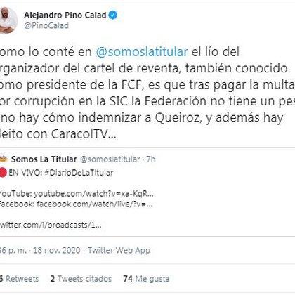 Dificultades económicas en la Federación Colombiana de Fútbol para indemnizar a Carlos Queiroz ante una eventual salida del entrenador / (Twitter: @PinoCalad)