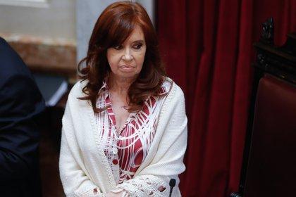 La vicepresidente Cristina Kirchner presidiendo una sesión del Senado de la Nación