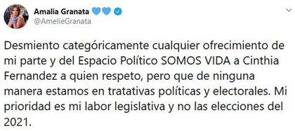 El mensaje de Granata para desmentir un ofrecimiento a Cinthia Fernández para sumarse a su espacio político (Foto: Twitter)