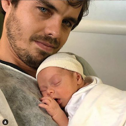 Con Rita, recién nacida.