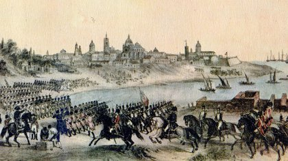 Invasiones inglesas a Buenos Aires, pintado por Madrid Martínez, litografía de 1807. French, con 32 años, participó primero en la reconquista de la ciudad y luego de la defensa
