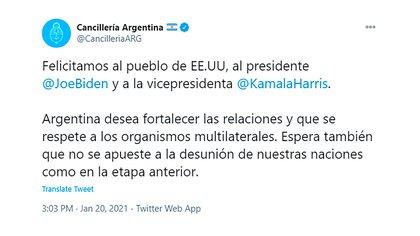 El tuit de la Cancillería saludando la asunción de Biden-Harris que causó un vendaval en la quinta de Olivos