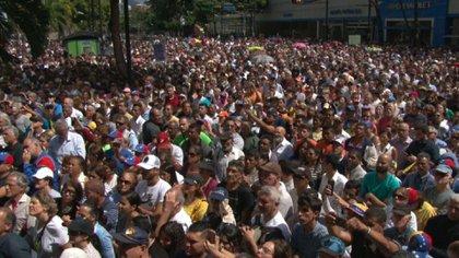 Juan Guaidó, en el acto de este viernes 11 de enero en el que se declaró presidente interino de Venezuela