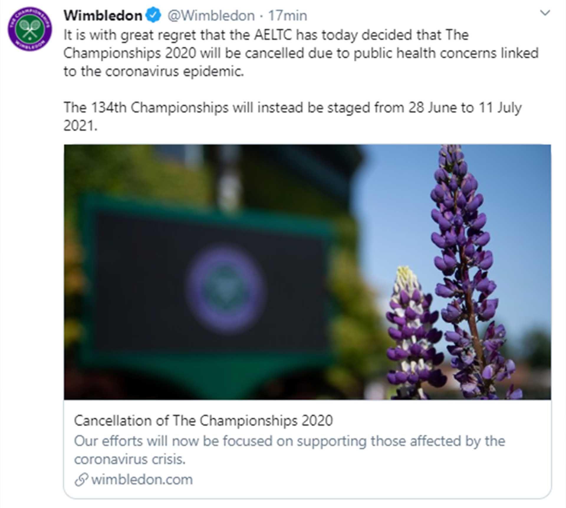 El anuncio de la cancelación de Wimbledon 2020