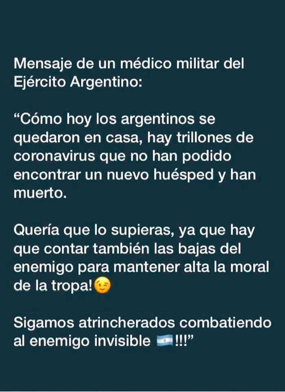 Tuit que recibió Alberto Fernández evaluando el impacto positivo que tiene la cuarentena para frenar el contagio del coronavirus
