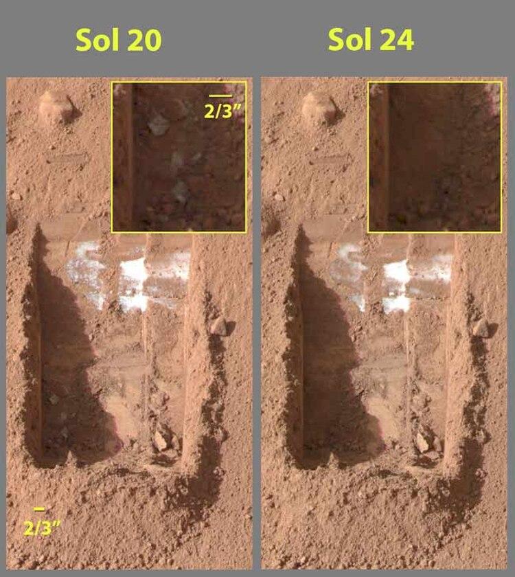 Phoenix Lander encontró la primera prueba de hielo de agua actual debajo de la superficie de Marte